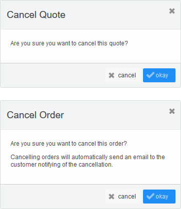 Cancel Quote & Cancel Order popups (unpaid)