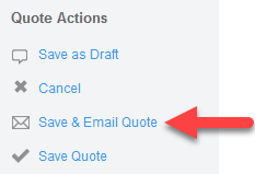 Save & Email Quote action