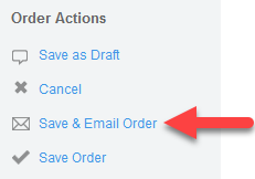Save & Email Order action