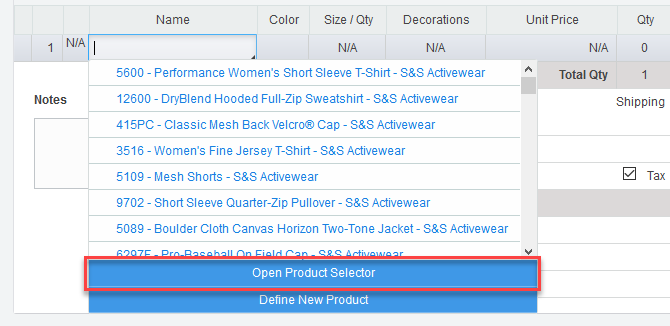 Open Product Selector button