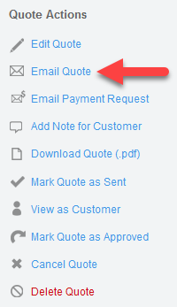Email Quote action