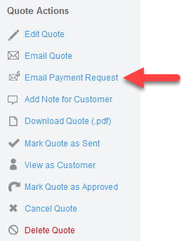 'Email Payment Request' action (Quote)