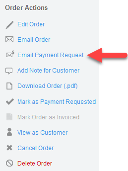 'Email Payment Request' action (Order)