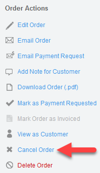 'Cancel Order' action