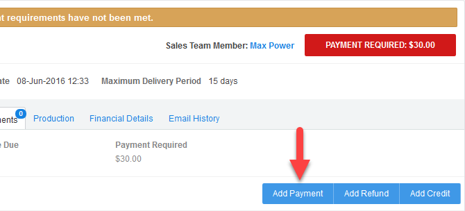 'Add Payment' button