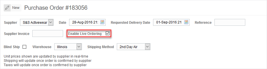 'Enable Live Ordering' checkbox