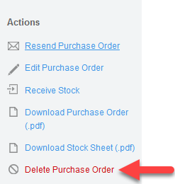 'Delete Purchase Order' action
