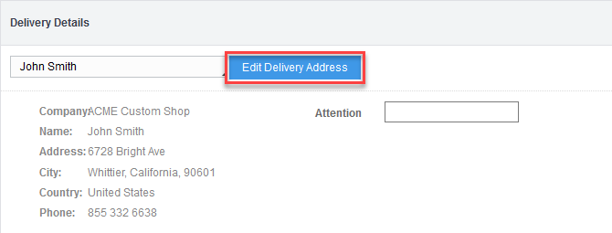 'Edit Delivery Address' button