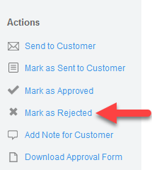 'Mark as Rejected' action