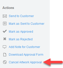 'Cancel Artwork Approval' action