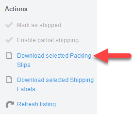 'Download selected Packing Slips' action